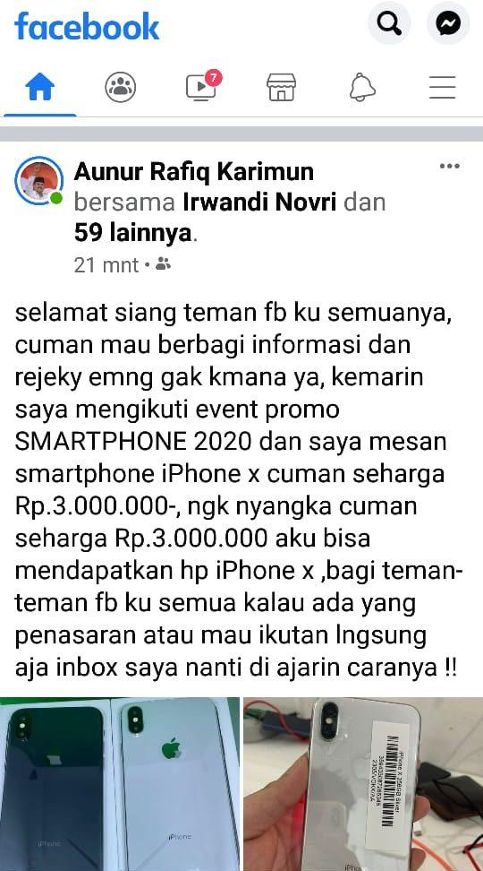 Akun Fb Aunur Rafiq Kena Hack Bikin Promo Penipuan Posmetro Batam